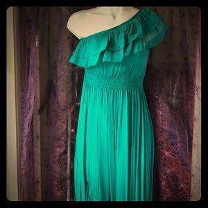Nicole Miller one-shouldered silk gown